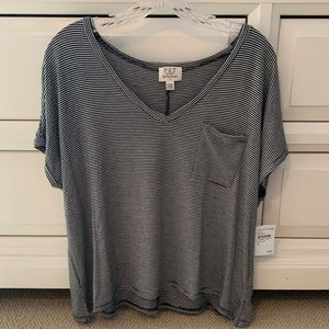 P.S.T V-neck striped tee NWT